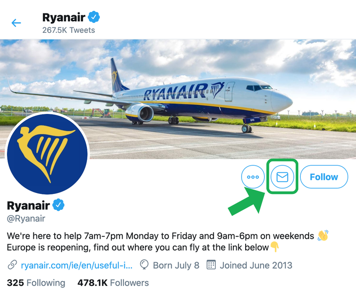 Contact Ryanair on Twitter